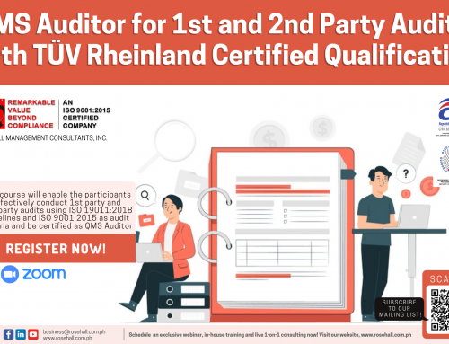 QMS Auditor for 1st and 2nd Party Audits with TÜV Rheinland Certified Qualification