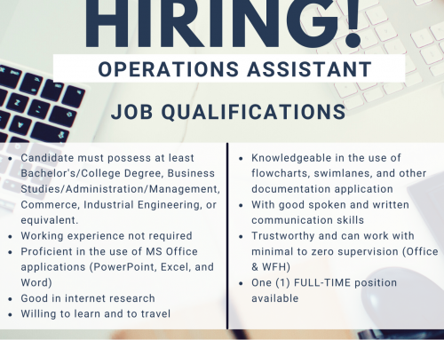 WE ARE LOOKING FOR OPERATIONS ASSISTANT TO JOIN OUR TEAM!